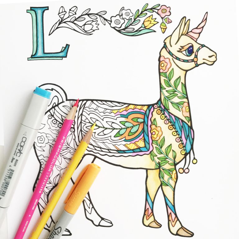colored llama with pens 1200dpi