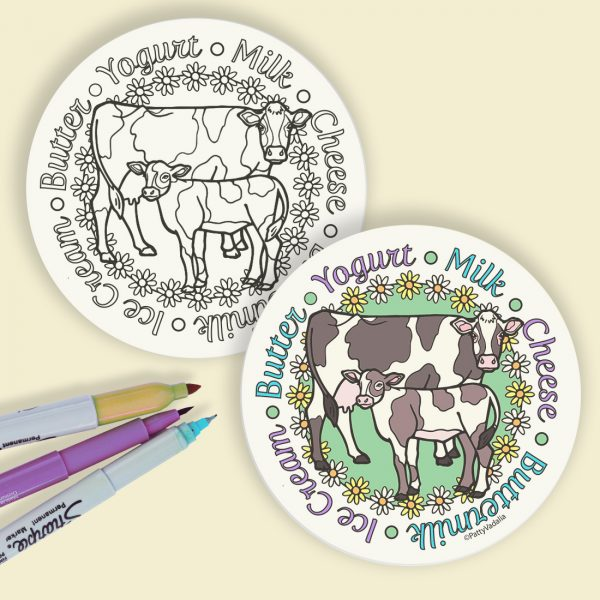 cow coloring coasters