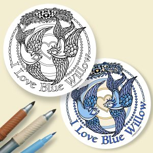 blue willow coloring coasters