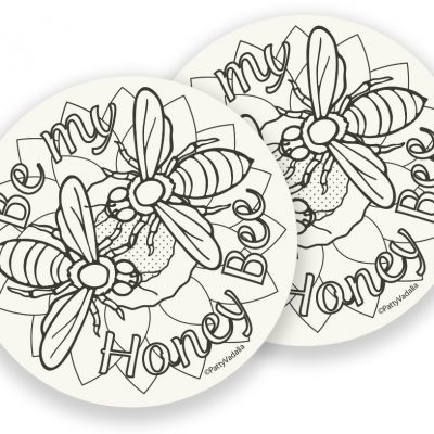 bee coasters for coloring